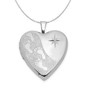 Silver 20mm Footprints and Diamond Cut Star Heart Locket Necklace - The Black Bow Jewelry Co.