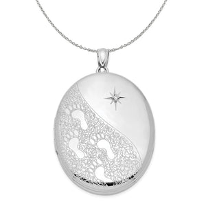 34mm Footprints and Diamond Star Oval Silver Locket Necklace - The Black Bow Jewelry Co.