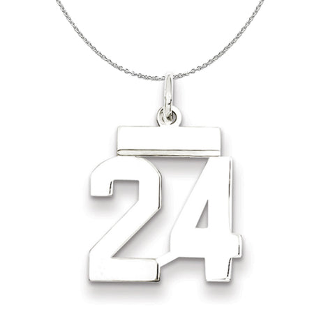 Small Polished Number 75 Pendant Athletic Collection Rhodium Plated Sterling Silver