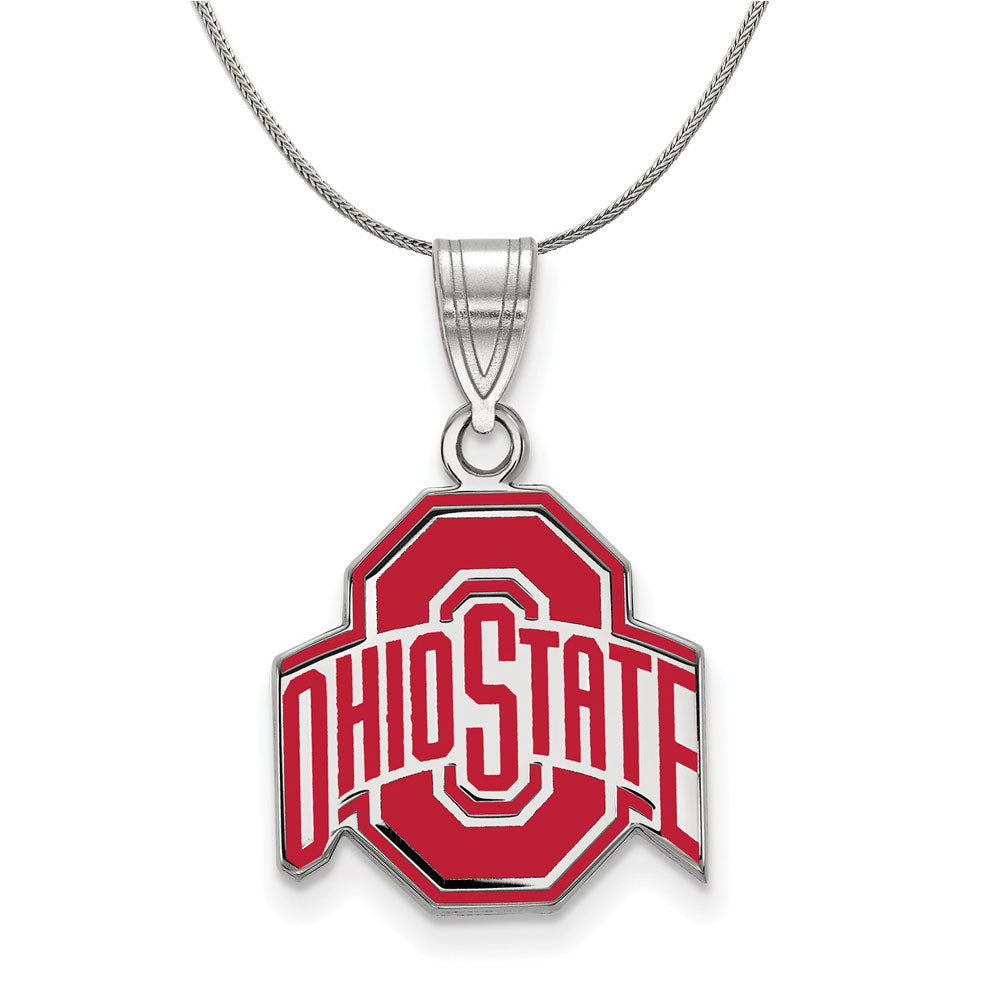 NCAA Sterling Silver Ohio State Md Enamel Pendant Necklace - The Black Bow Jewelry Co.