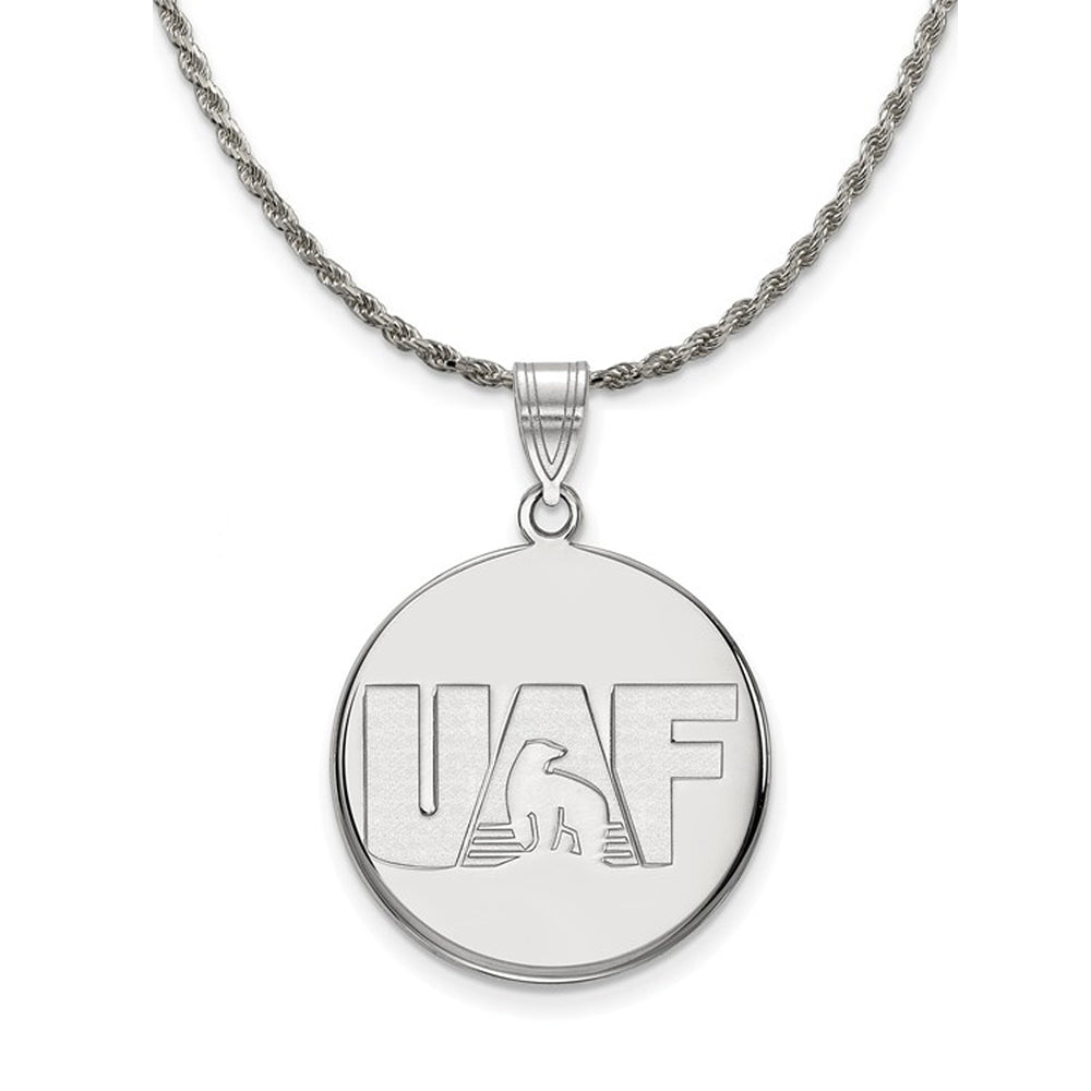 NCAA Silver U. of Alaska Fairbanks Large Disc Pendant Necklace - The Black Bow Jewelry Co.
