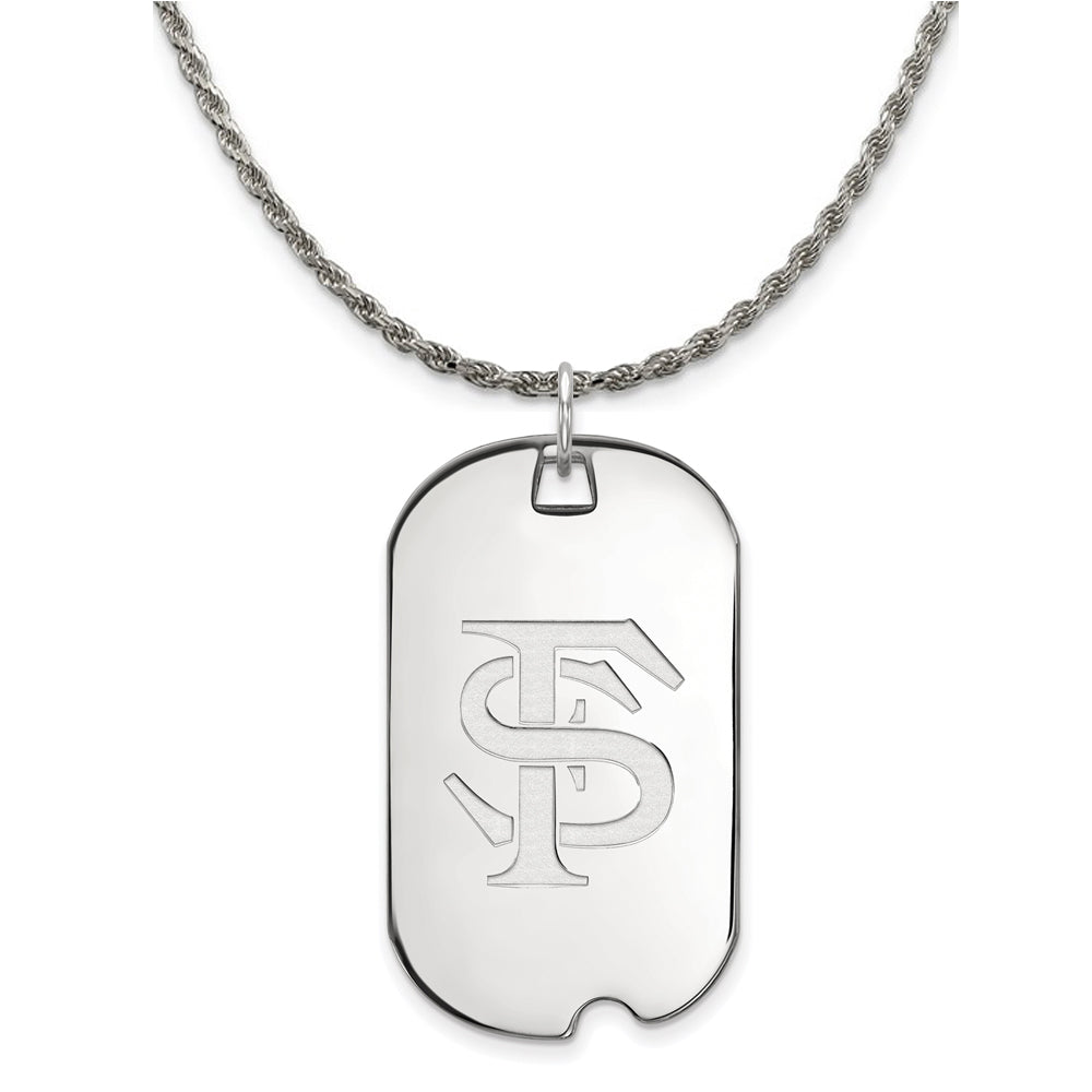 NCAA Silver Florida State Large Dog Tag Pendant Necklace - The Black Bow Jewelry Co.