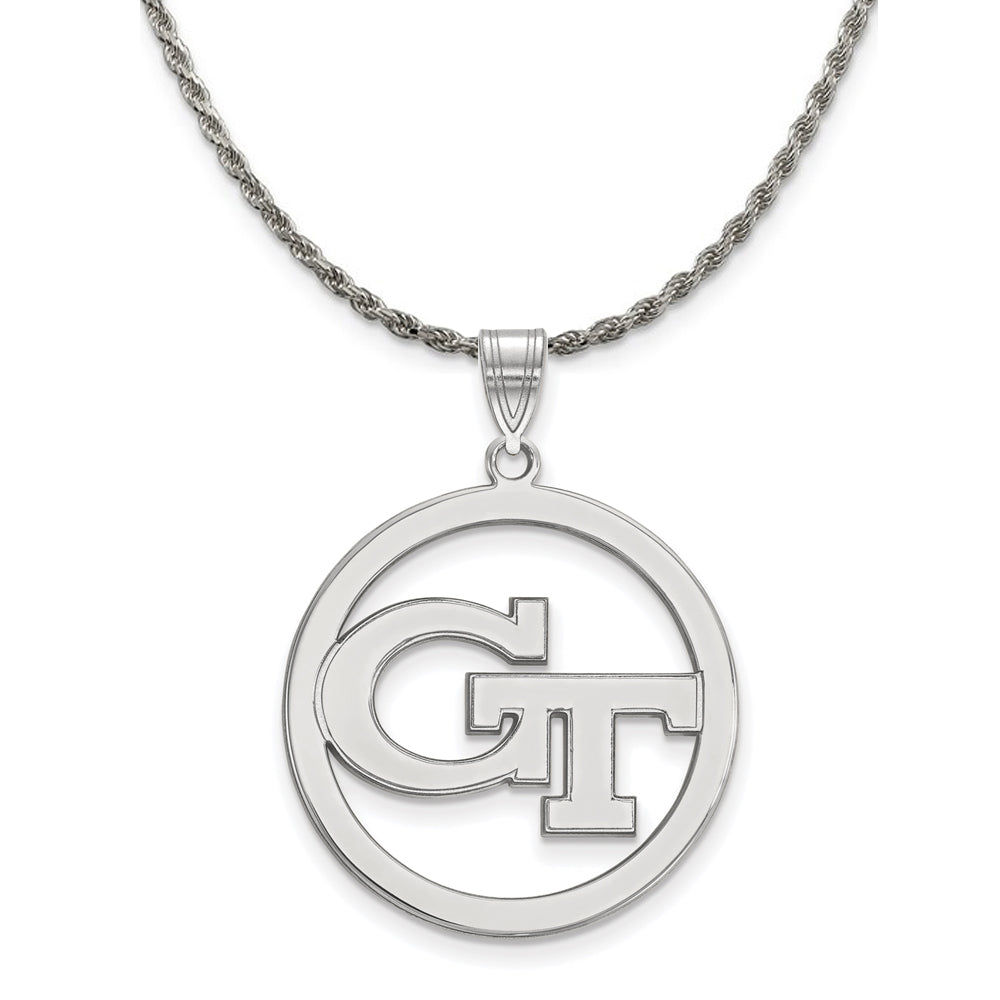 NCAA Silver Georgia Technology Large Circle Pendant Necklace - The Black Bow Jewelry Co.