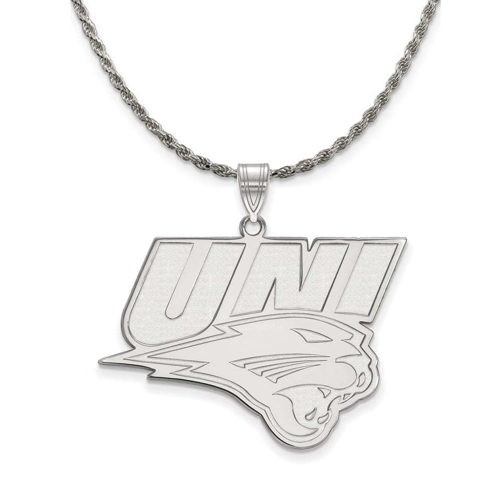 NCAA Sterling Silver Northern Iowa XL Pendant Necklace - The Black Bow Jewelry Co.