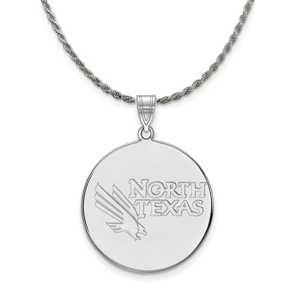 NCAA Sterling Silver North Texas XL Disc Pendant Necklace - The Black Bow Jewelry Co.