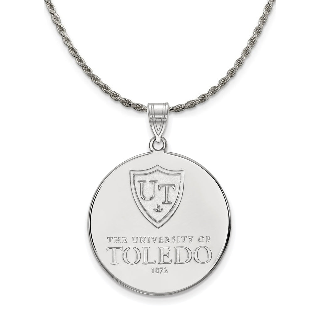NCAA Sterling Silver Toledo XL Disc Pendant Necklace - The Black Bow Jewelry Co.