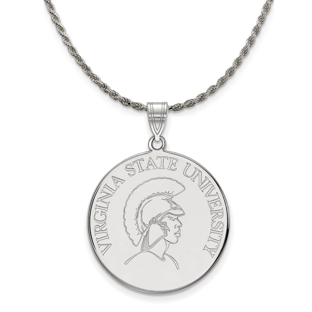 NCAA Sterling Silver Virginia State XL Disc Pendant Necklace - The Black Bow Jewelry Co.