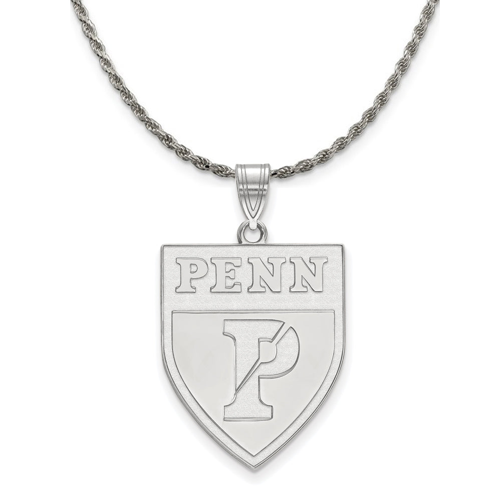 NCAA Sterling Silver U. of Pennsylvania XL Pendant Necklace - The Black Bow Jewelry Co.