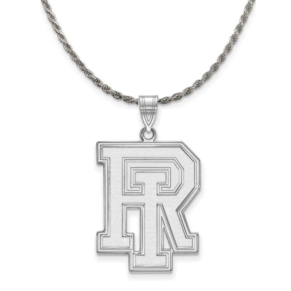 NCAA Sterling Silver U. of Rhode Island XL Pendant Necklace - The Black Bow Jewelry Co.