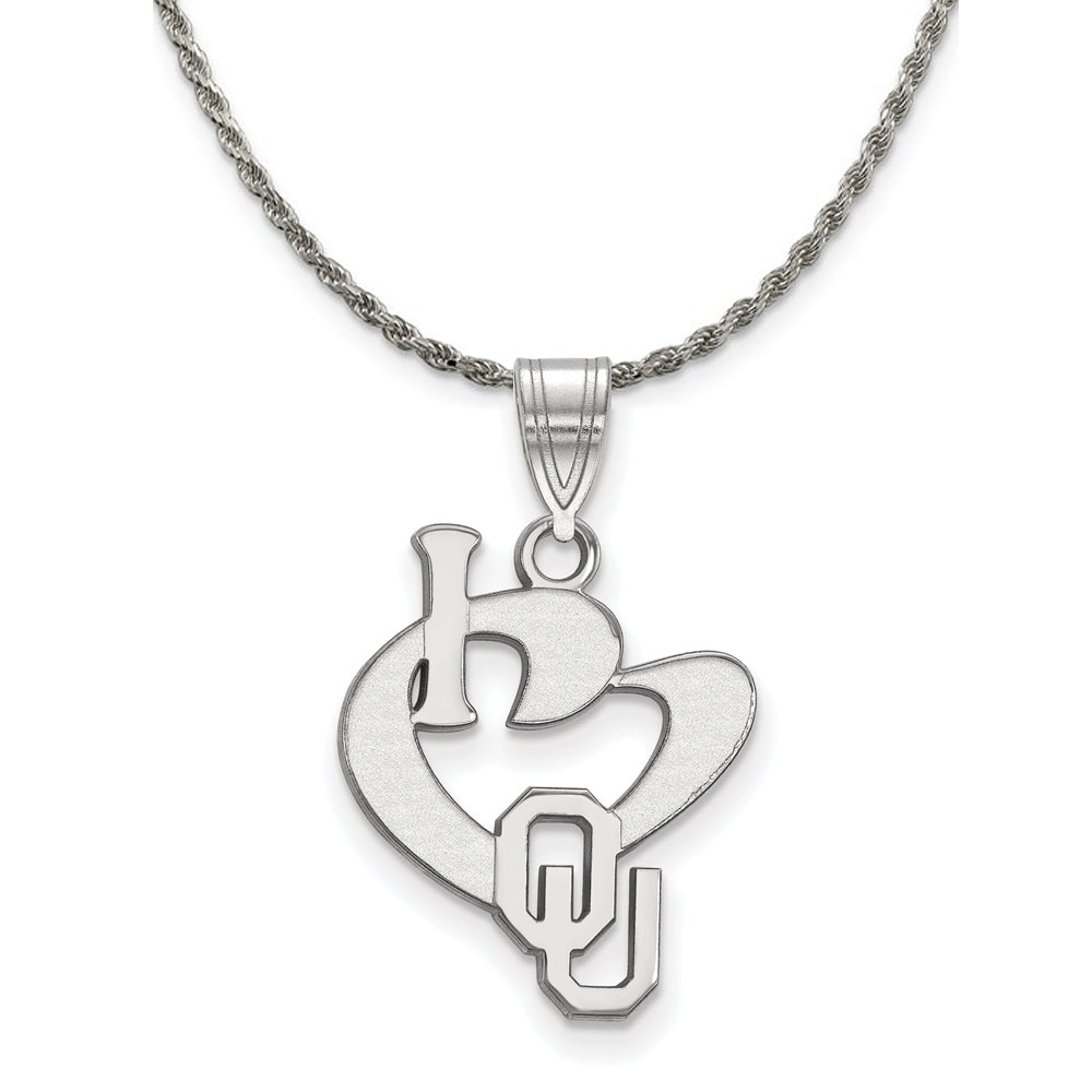 NCAA Silver U. of Oklahoma Large I Love Logo Pendant Necklace - The Black Bow Jewelry Co.