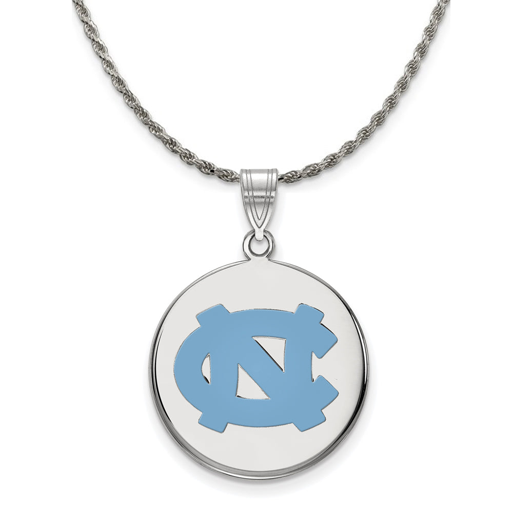 NCAA Silver North Carolina Large Enamel Disc Pendant Necklace - The Black Bow Jewelry Co.