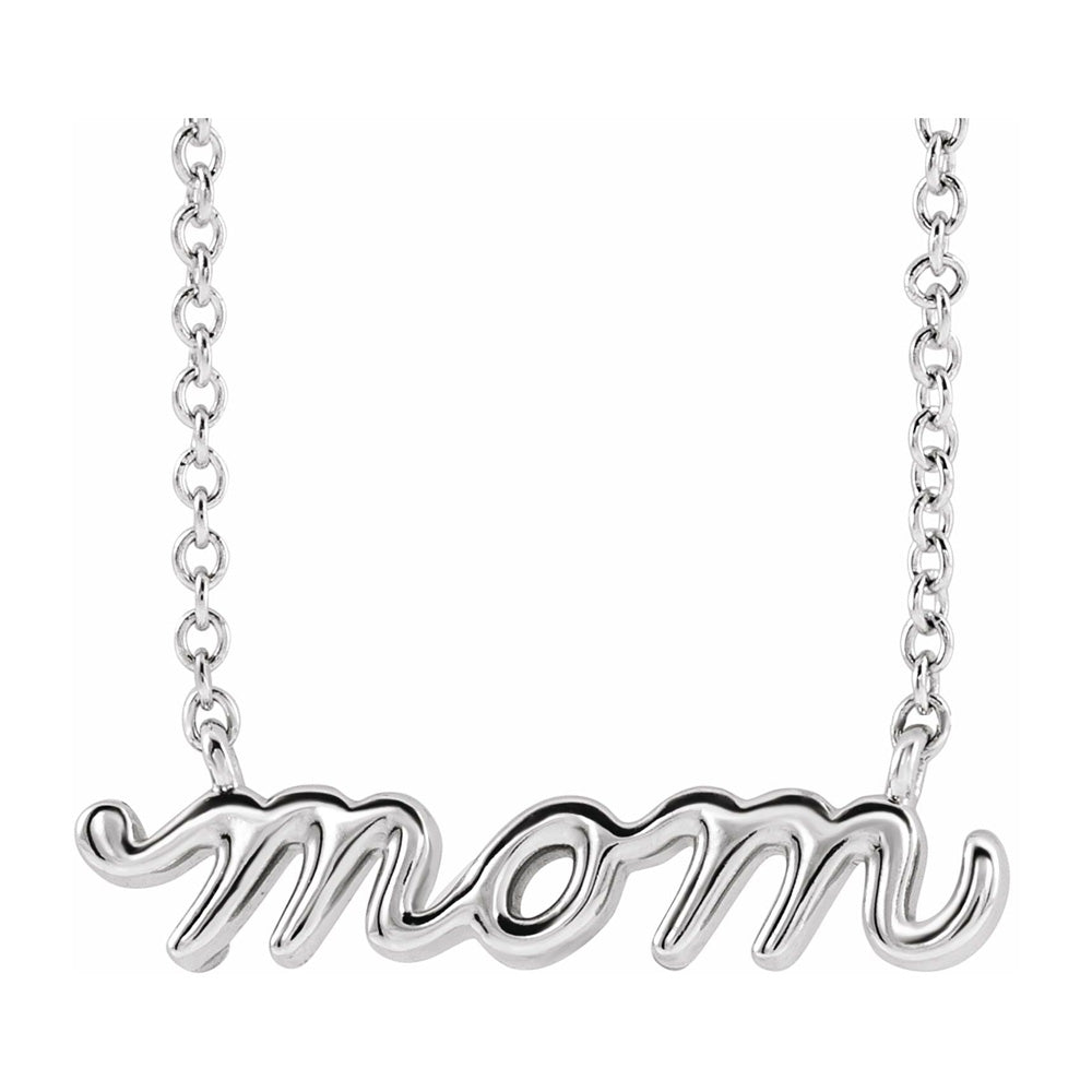 14K White Gold Petite Mom Script Necklace, 16 Inch or 18 Inch - The Black Bow Jewelry Co.