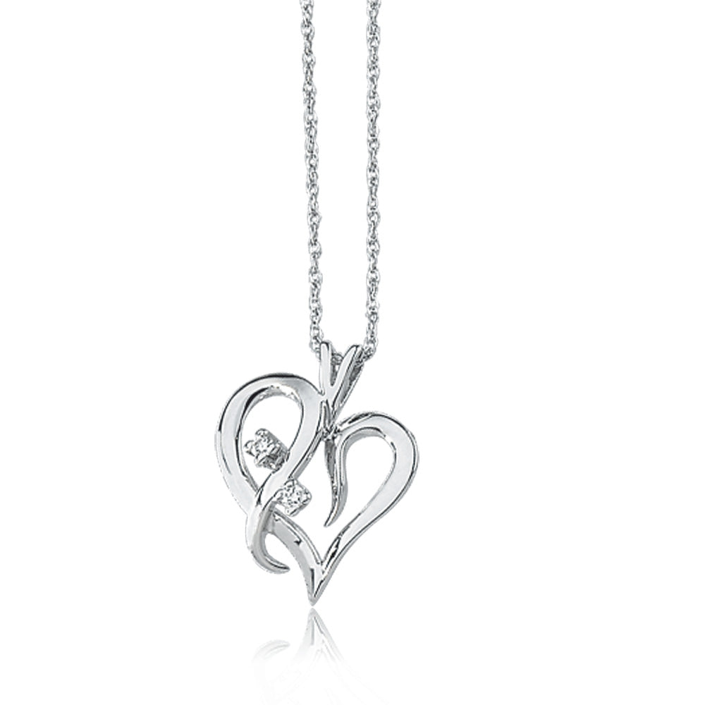 .03 Carat Diamond Heart Necklace in 14k White Gold, Item N8019 by The Black Bow Jewelry Co.
