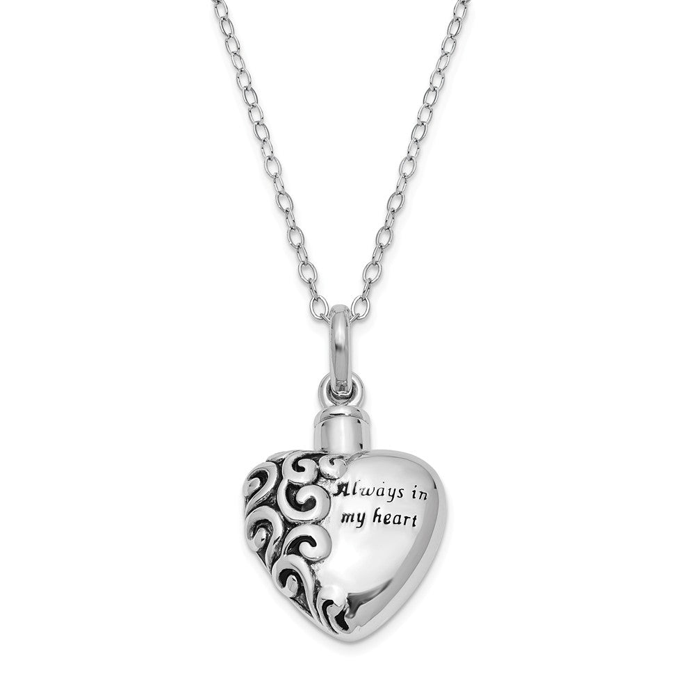 Sterling Silver Always in My Heart Ash Holder Necklace, 18 Inch, Item N8317 by The Black Bow Jewelry Co.