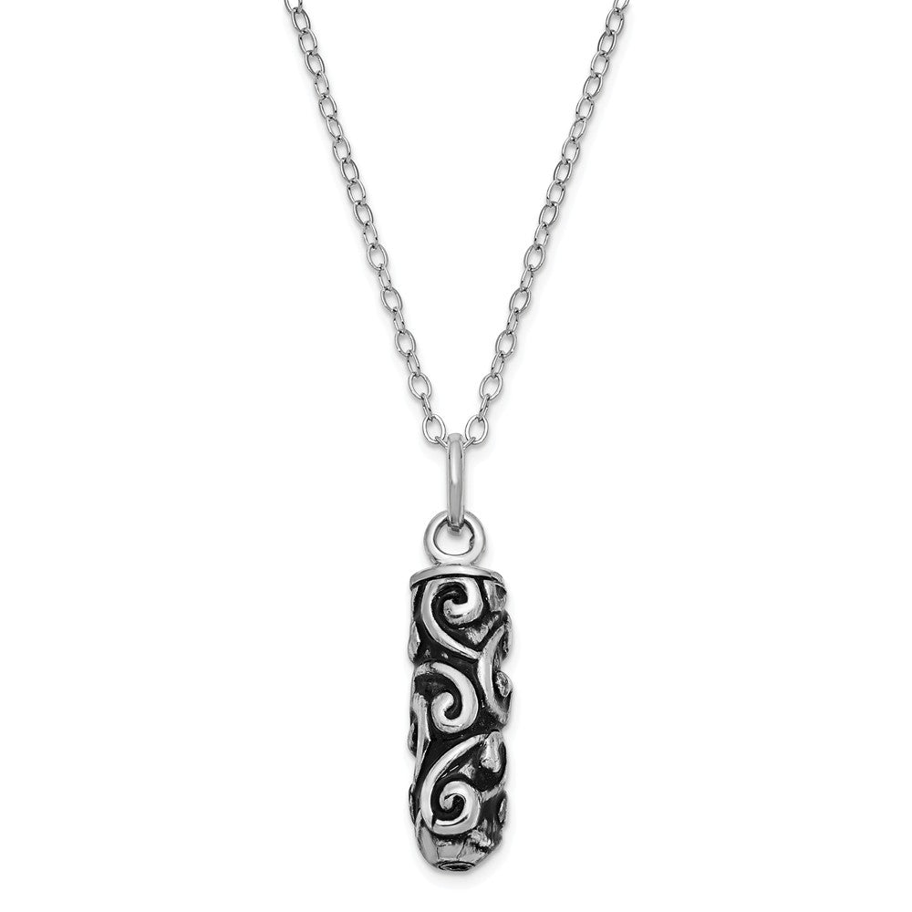 Rhodium Plated Sterling Silver Cylinder Ash Holder Necklace, 18 Inch, Item N8322 by The Black Bow Jewelry Co.