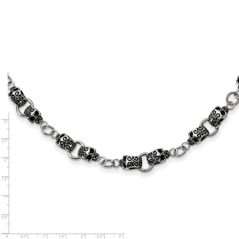 Alternate view of the Men's Stainless Steel 12mm Tattooed Skull Chain Necklace, 24 Inch by The Black Bow Jewelry Co.