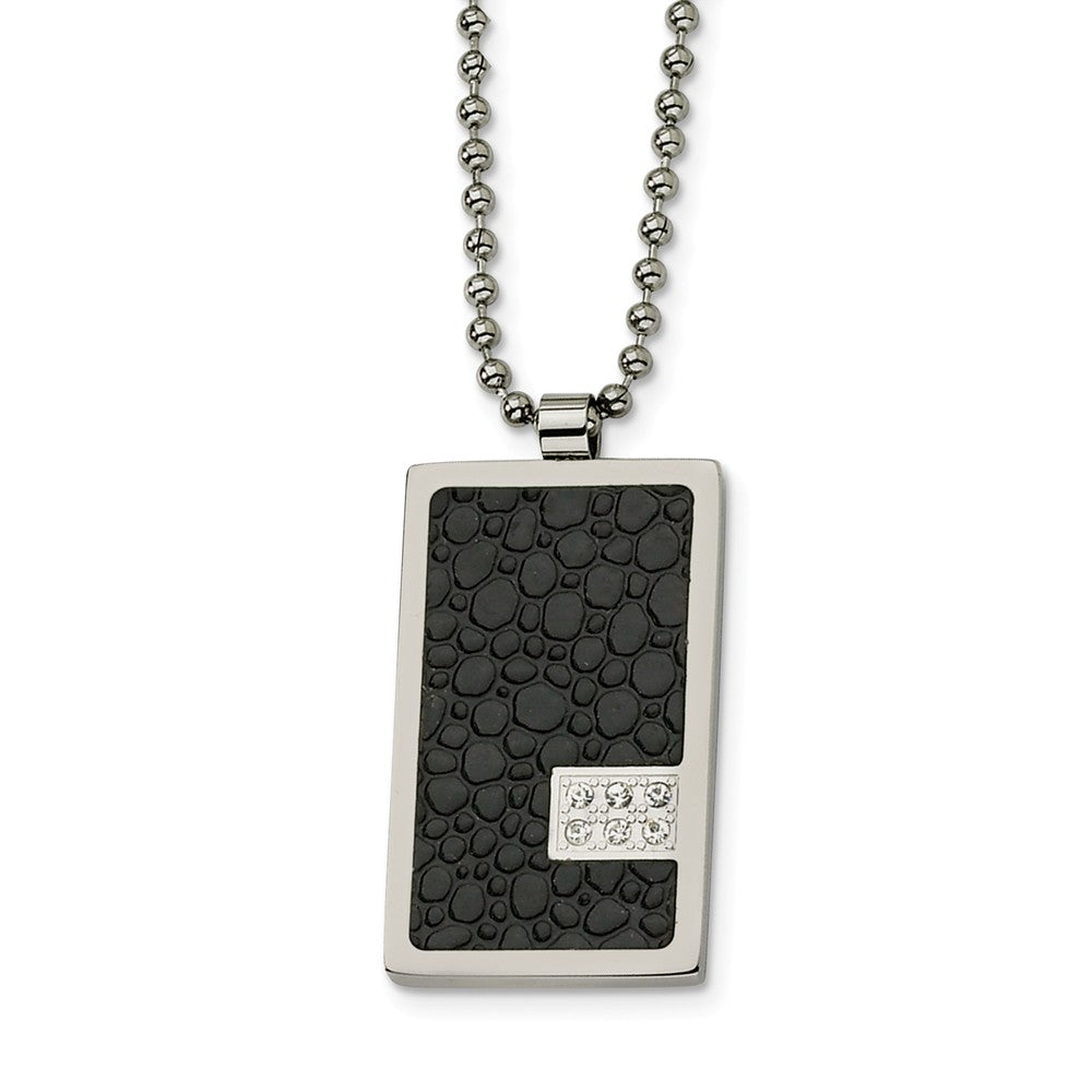 Men's Steel and Textured Textured Dog tag Necklace with Diamonds, Item N8439 by The Black Bow Jewelry Co.