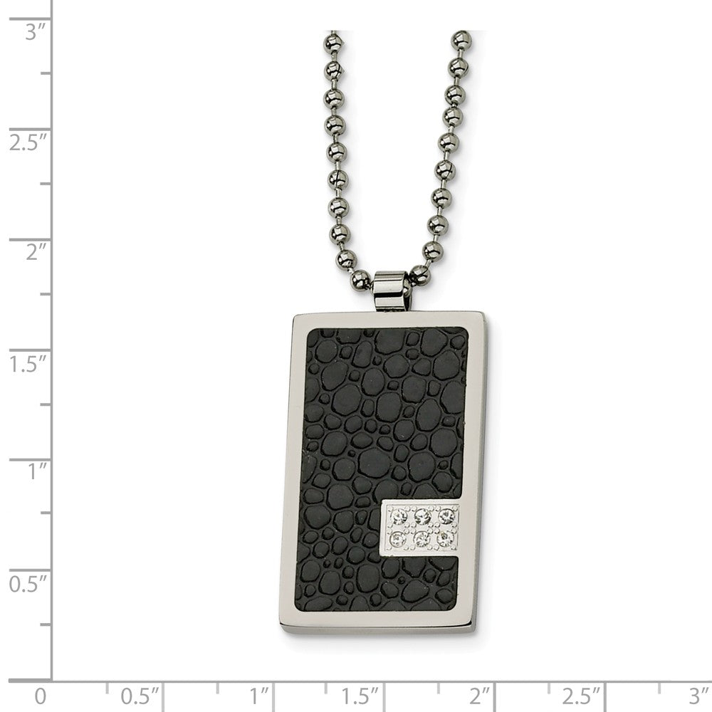 Alternate view of the Men's Steel and Textured Textured Dog tag Necklace with Diamonds by The Black Bow Jewelry Co.