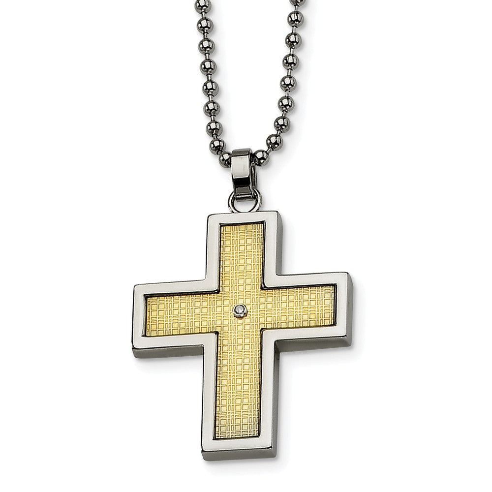 Stainless Steel, 14k Gold and Diamond Accent Cross Necklace, Item N8486 by The Black Bow Jewelry Co.