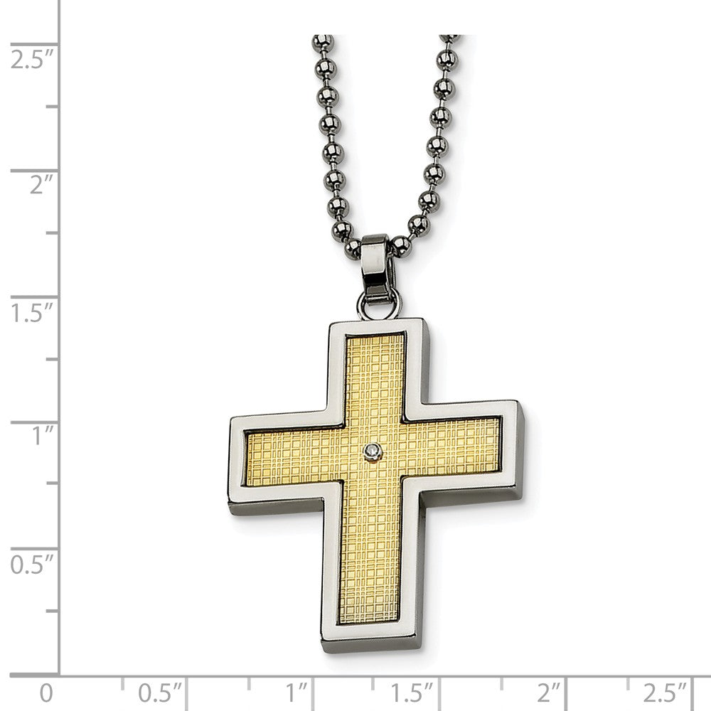 Alternate view of the Stainless Steel, 14k Gold and Diamond Accent Cross Necklace by The Black Bow Jewelry Co.