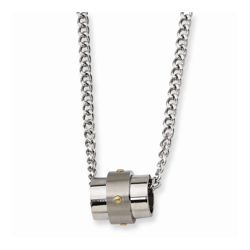 Stainless Steel and Gold Tone Accent Barrel Necklace, Item N8544 by The Black Bow Jewelry Co.