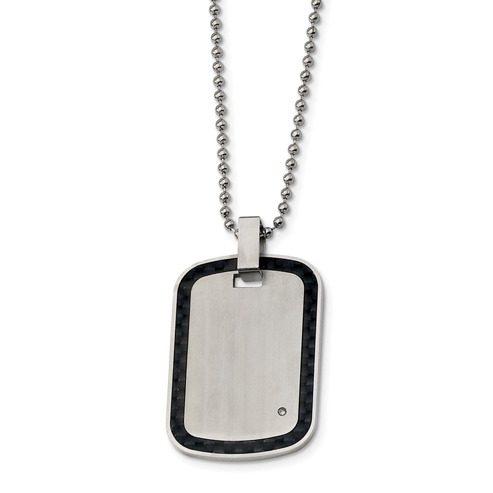 Stainless Steel, Carbon Fiber and Diamond Accent Dog Tag Necklace, Item N8556 by The Black Bow Jewelry Co.