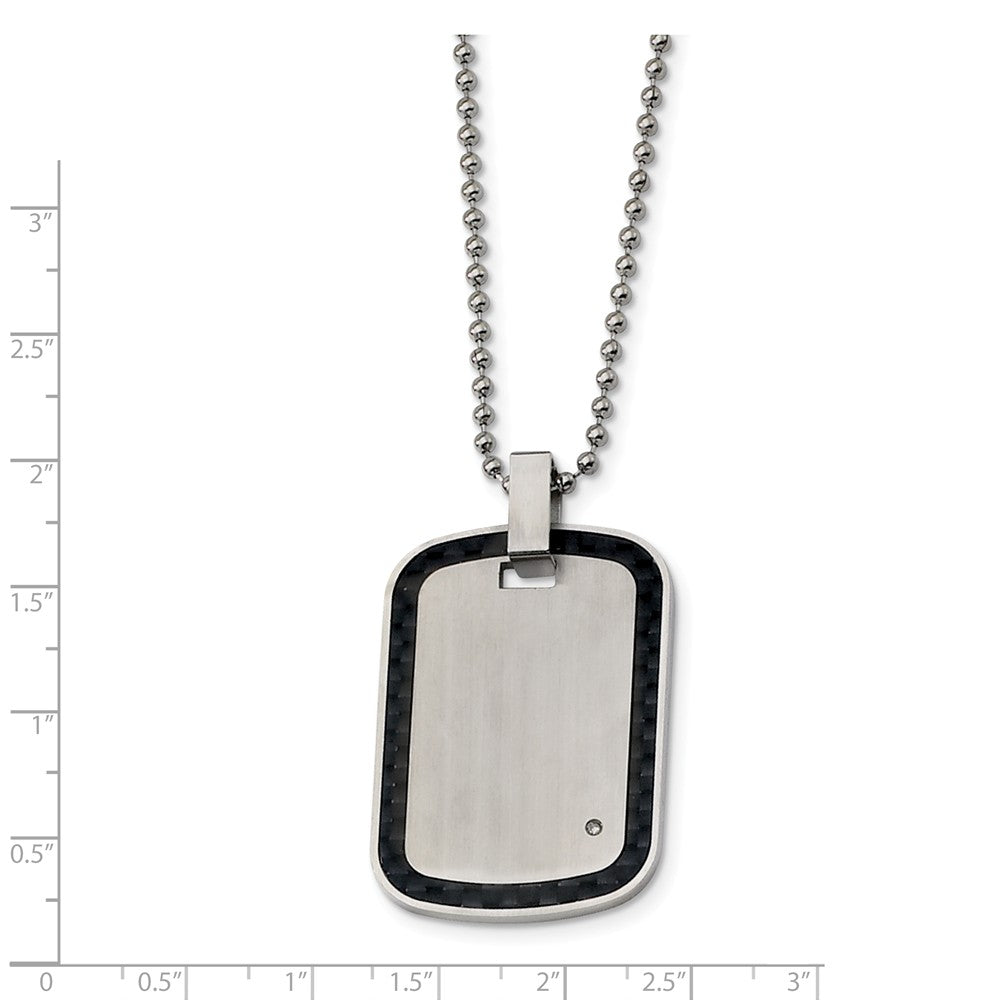 Alternate view of the Stainless Steel, Carbon Fiber and Diamond Accent Dog Tag Necklace by The Black Bow Jewelry Co.
