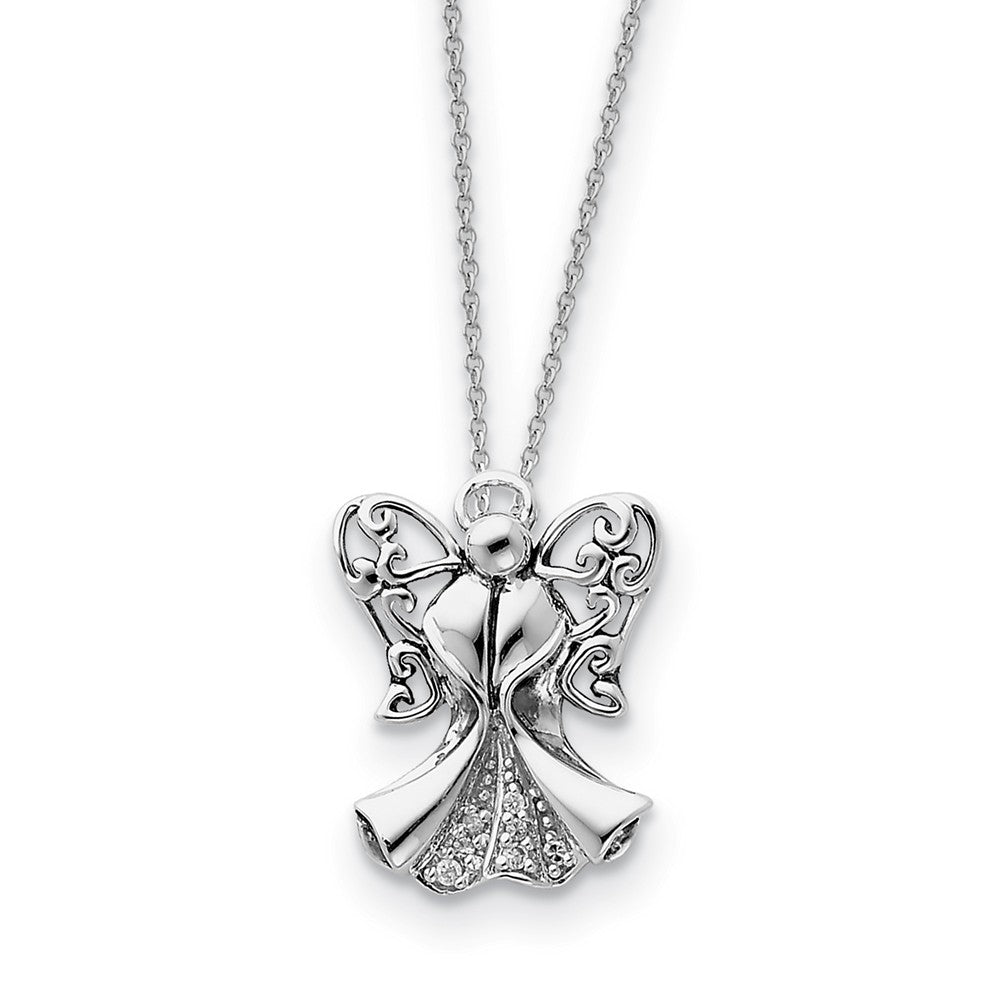 Rhodium Plated Sterling Silver & CZ Angel of Strength Necklace, 18in, Item N8648 by The Black Bow Jewelry Co.