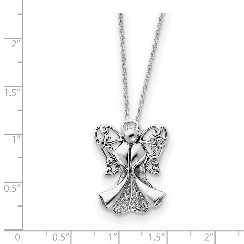 Alternate view of the Rhodium Plated Sterling Silver & CZ Angel of Strength Necklace, 18in by The Black Bow Jewelry Co.