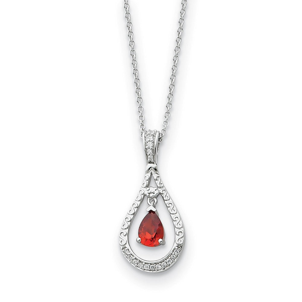 Rhodium Sterling Silver January CZ Birthstone Never Forget Necklace, Item N8657 by The Black Bow Jewelry Co.