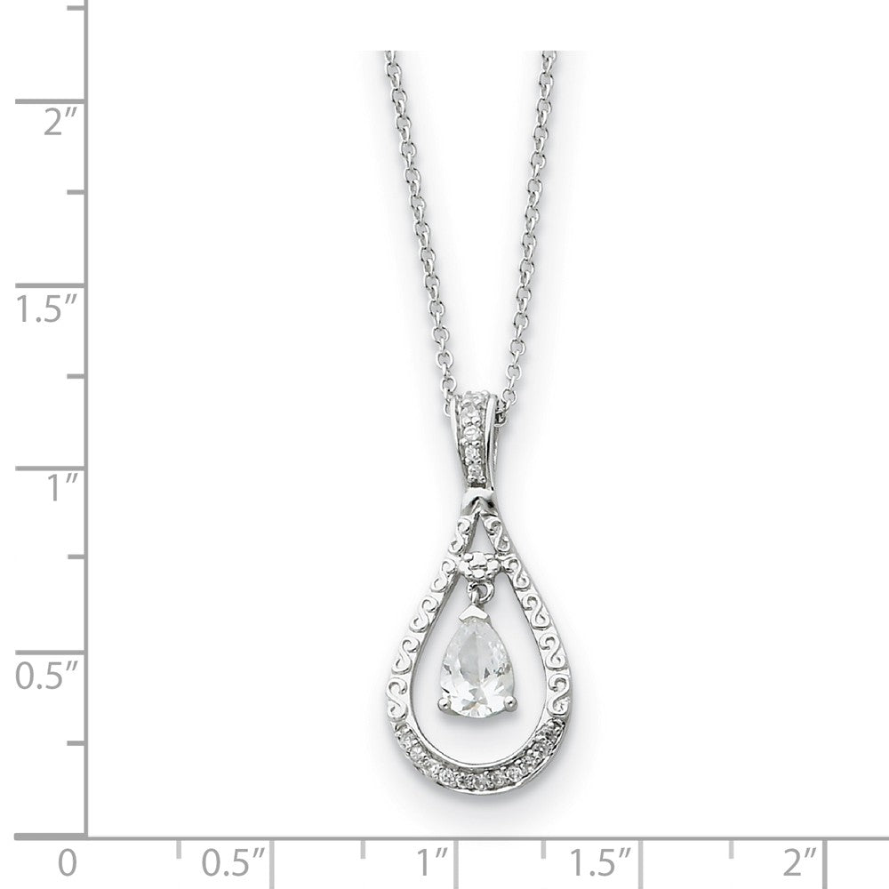 Alternate view of the Rhodium Sterling Silver April CZ Birthstone Never Forget Necklace by The Black Bow Jewelry Co.