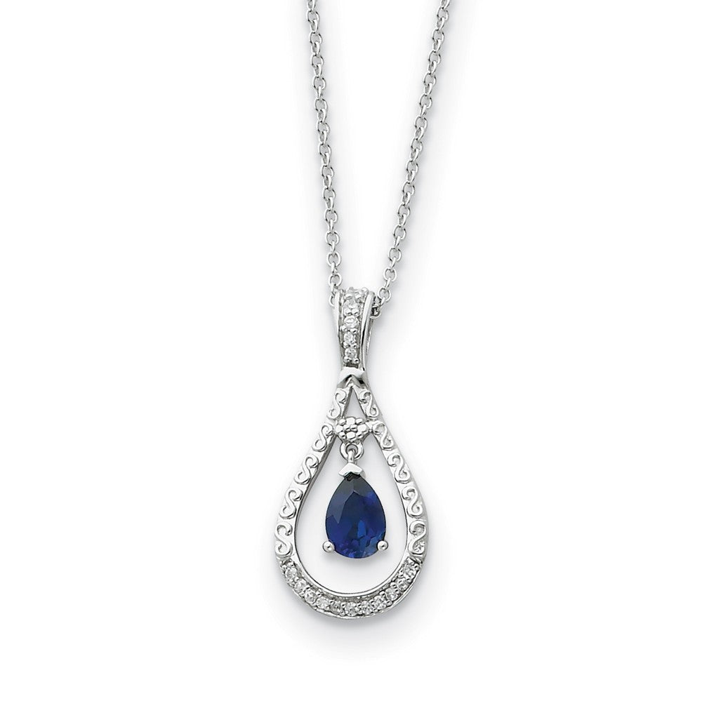Rhodium Sterling Silver Sept. CZ & Cr. Sapphire Never Forget Necklace, Item N8665 by The Black Bow Jewelry Co.
