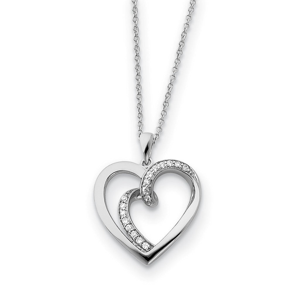 Rhodium Plated Sterling Silver & CZ Soul Mate Heart Necklace, 18 Inch, Item N8673 by The Black Bow Jewelry Co.
