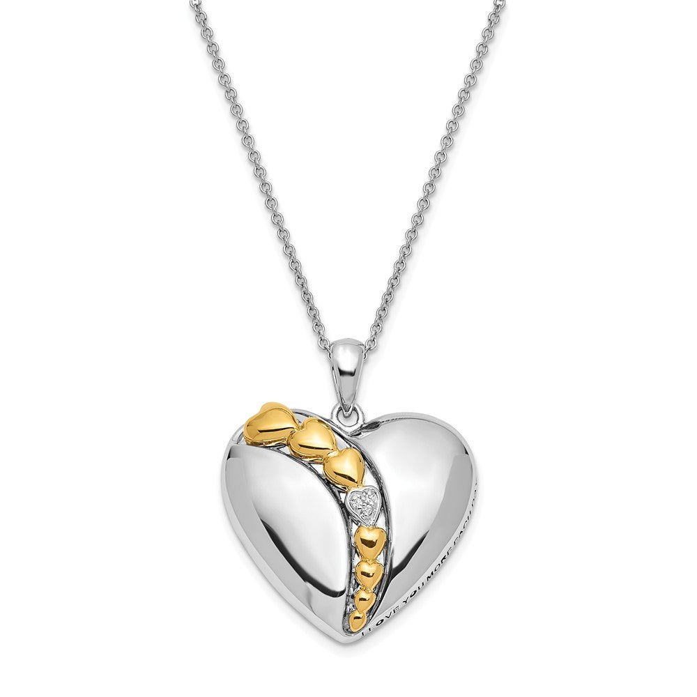 Rhodium & Gold Tone Plated Sterling Silver & CZ Heart Necklace, 18 In., Item N8688 by The Black Bow Jewelry Co.