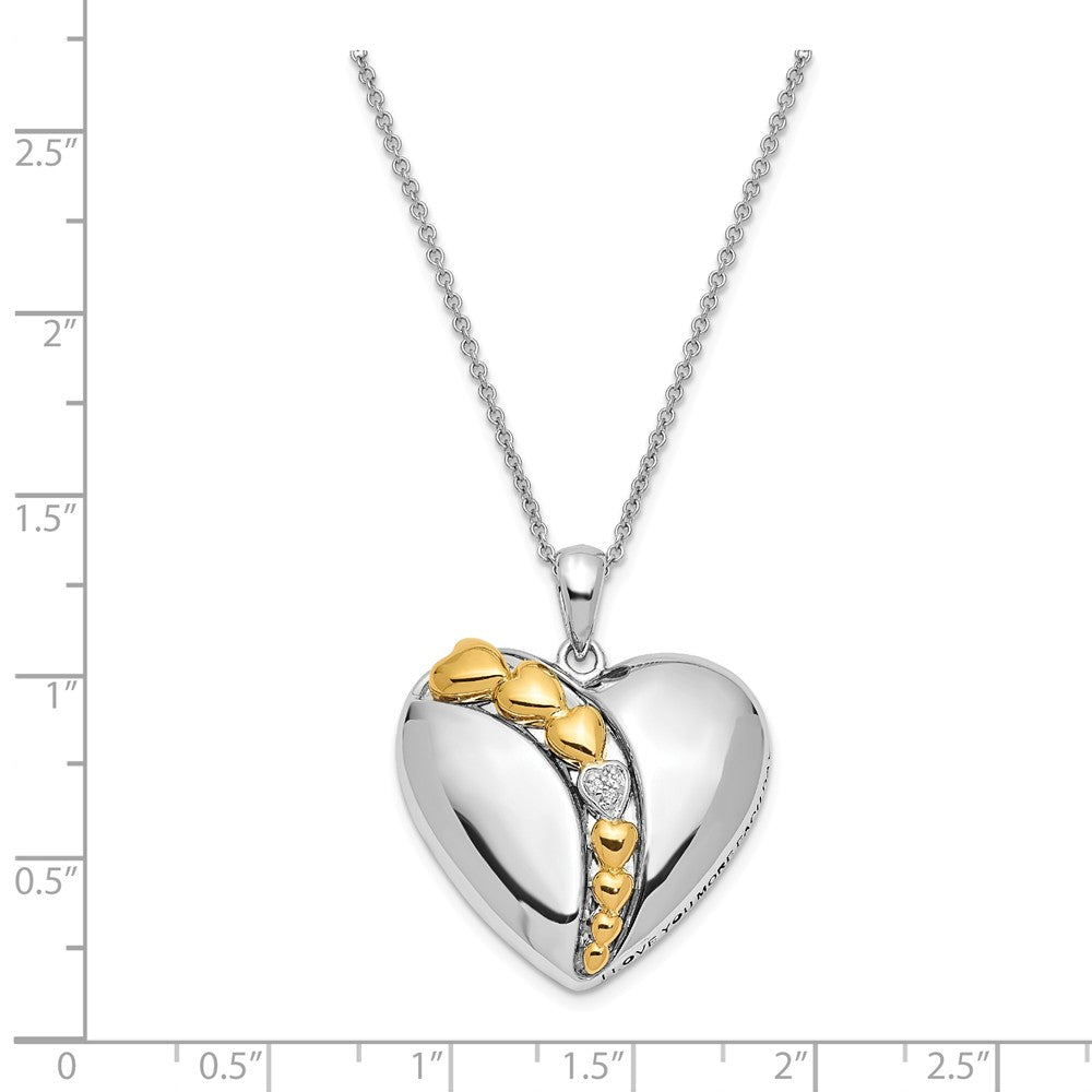 Alternate view of the Rhodium & Gold Tone Plated Sterling Silver & CZ Heart Necklace, 18 In. by The Black Bow Jewelry Co.