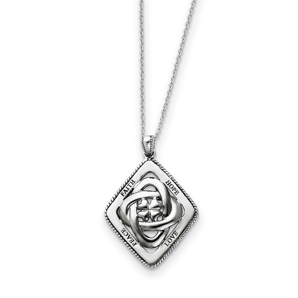 Rhodium Plated Sterling Silver Family Blessings Necklace, 18 Inch, Item N8712 by The Black Bow Jewelry Co.