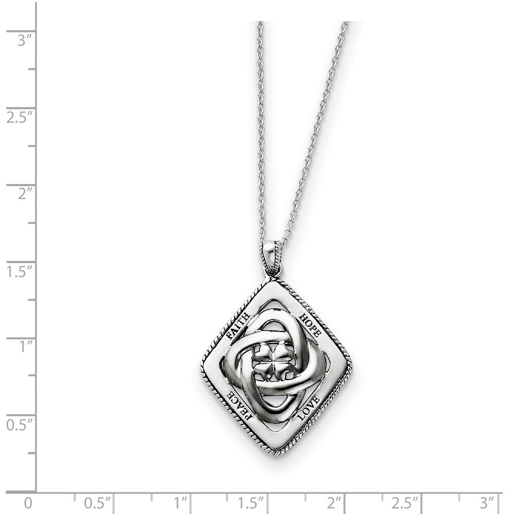 Alternate view of the Rhodium Plated Sterling Silver Family Blessings Necklace, 18 Inch by The Black Bow Jewelry Co.
