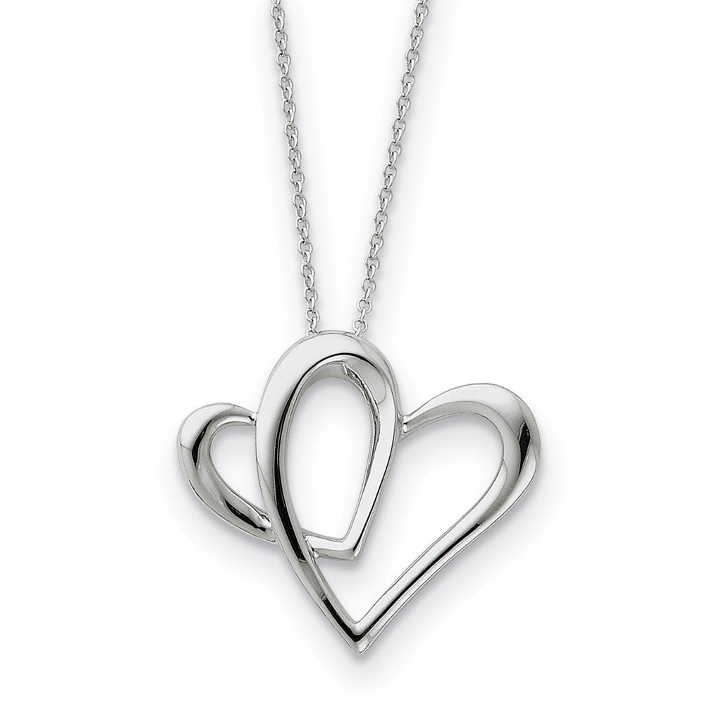 Rhodium Sterling Silver Daughter, Always A Part of My Heart Necklace, Item N8717 by The Black Bow Jewelry Co.