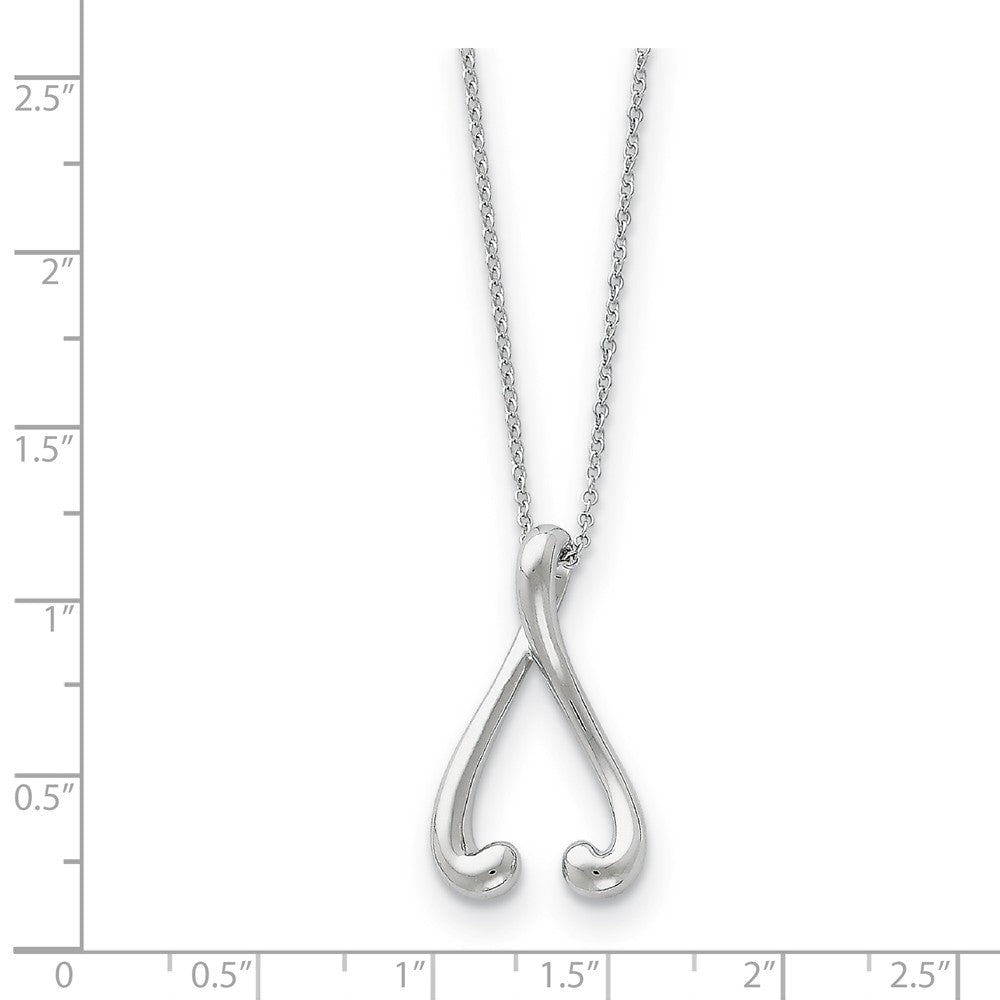 Alternate view of the Rhodium Plated Sterling Silver Wishbone Necklace, 18 Inch by The Black Bow Jewelry Co.