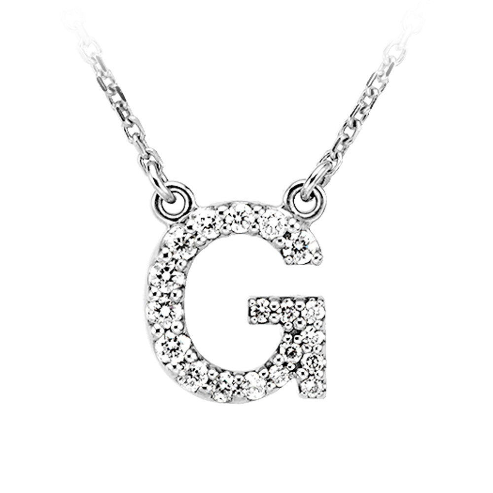 1/6 Cttw Diamond & 14k White Gold Block Initial Necklace, Letter G, Item N8891-G by The Black Bow Jewelry Co.