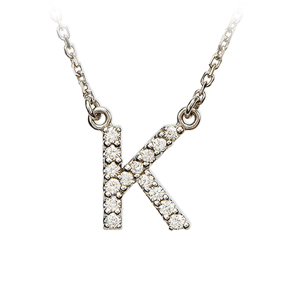 1/8 Cttw Diamond & 14k White Gold Block Initial Necklace, Letter K, Item N8891-K by The Black Bow Jewelry Co.