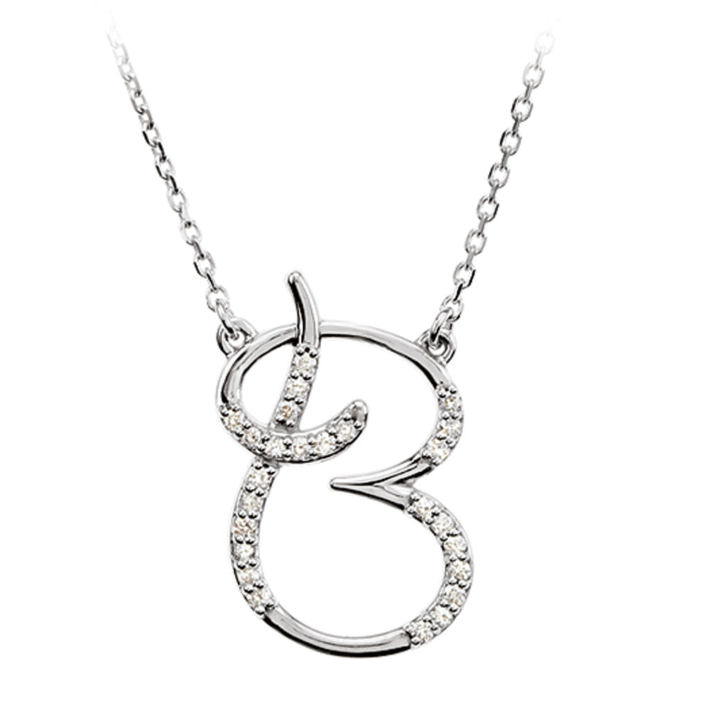 1/8 Ct Diamond Sterling Silver Medium Script Initial B Necklace, 16in, Item N8893-B by The Black Bow Jewelry Co.