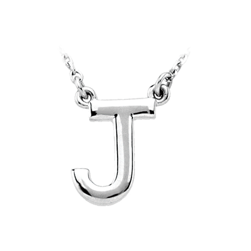 Sterling Silver, Kendall Collection, Block Initial J Necklace, 16 Inch, Item N8895-J by The Black Bow Jewelry Co.