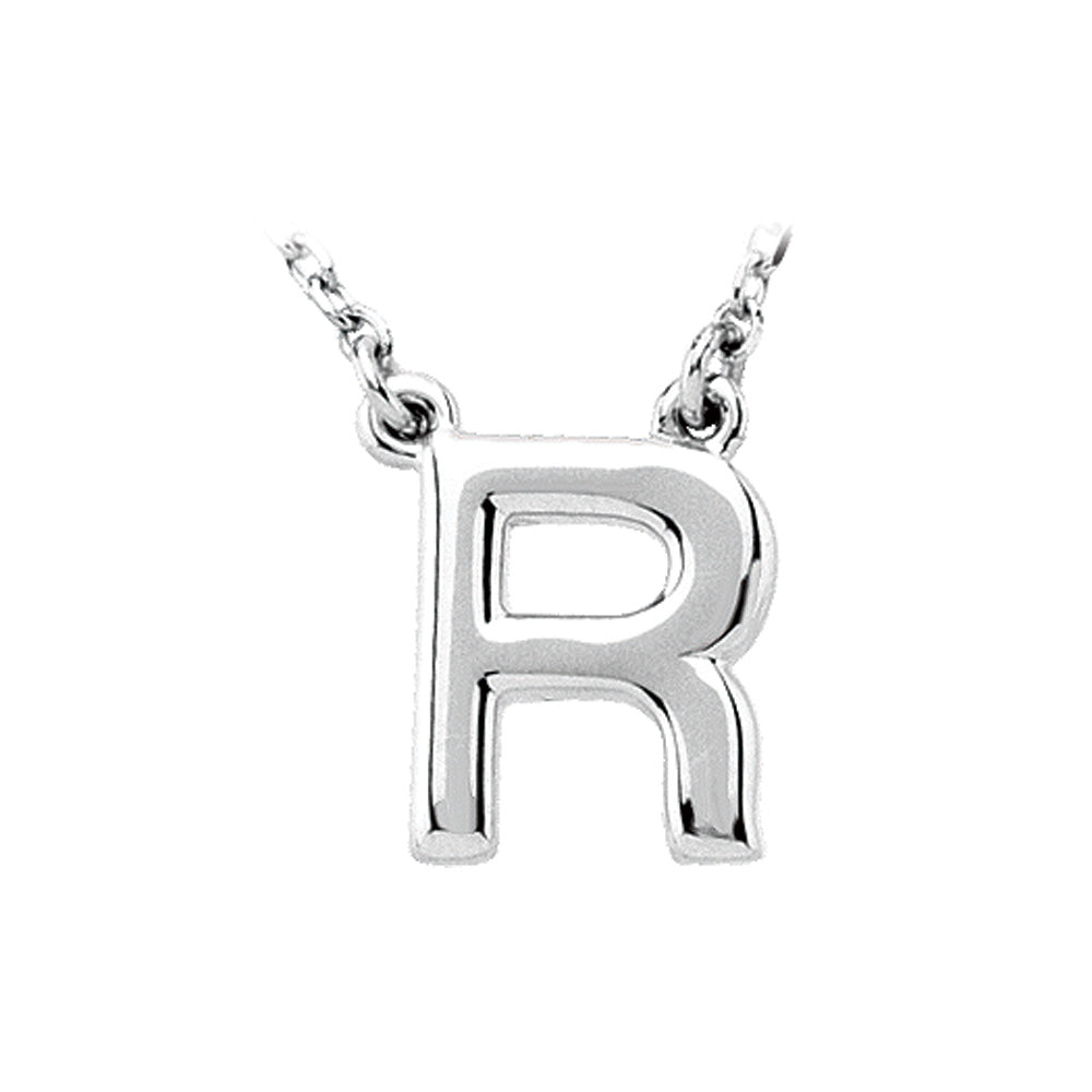 Sterling Silver, Kendall Collection, Block Initial R Necklace, 16 Inch, Item N8895-R by The Black Bow Jewelry Co.
