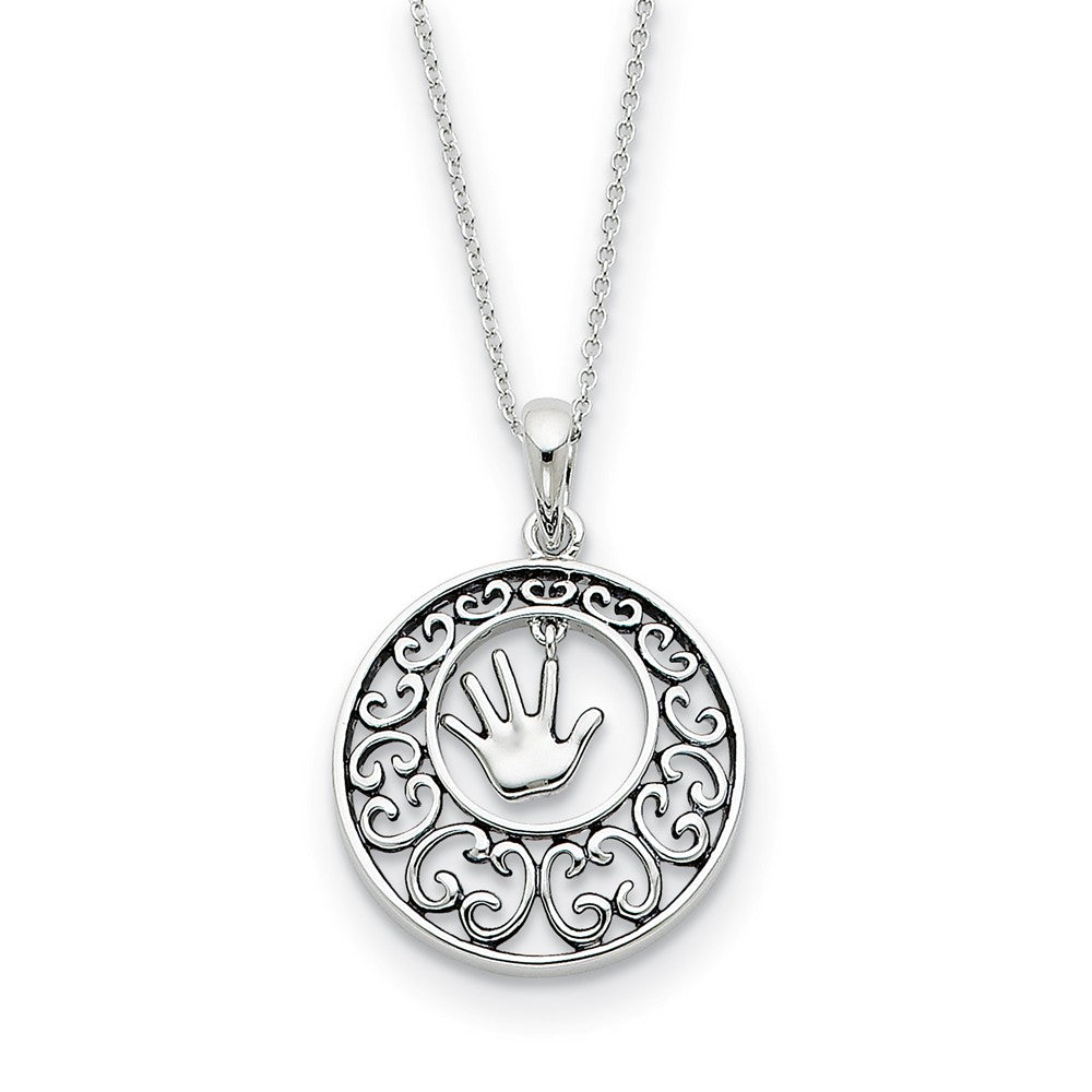 Rhodium Plated Sterling Silver Children, Handprint Necklace, 18 Inch, Item N8904 by The Black Bow Jewelry Co.