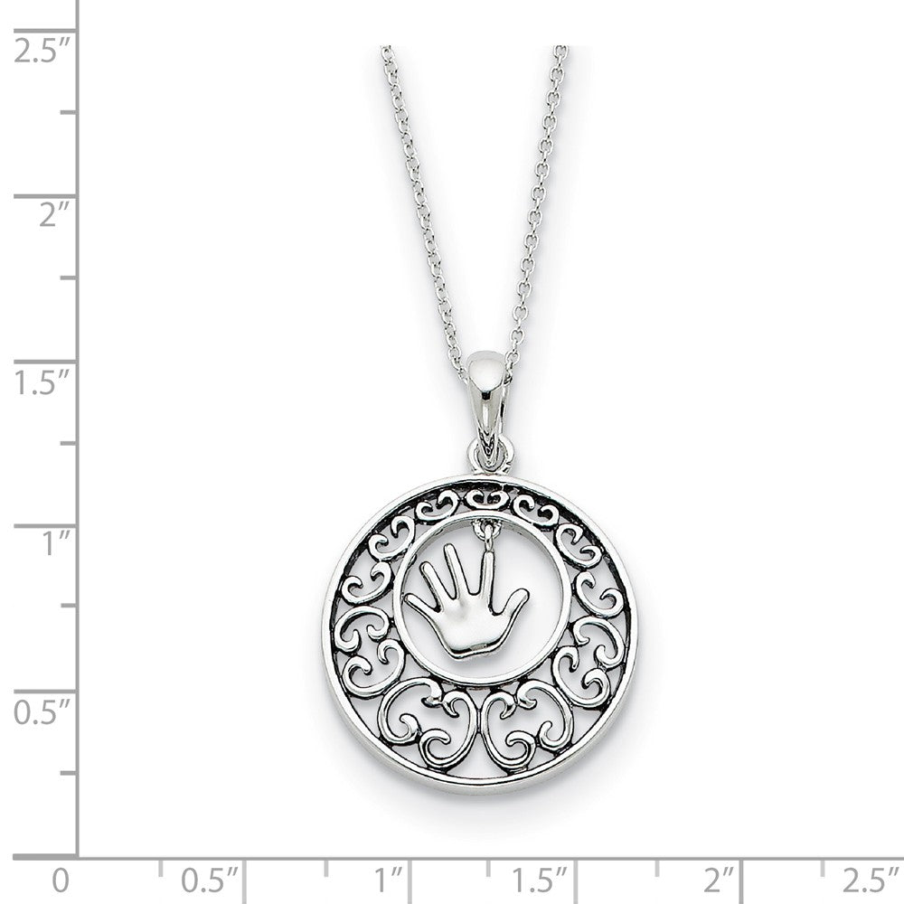 Alternate view of the Rhodium Plated Sterling Silver Children, Handprint Necklace, 18 Inch by The Black Bow Jewelry Co.