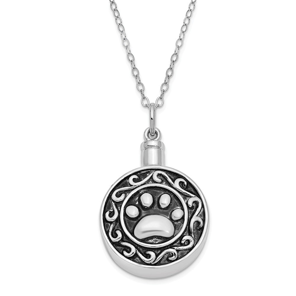 Rhodium Plated Sterling Silver Paw Print Ash Holder Necklace, 18 Inch, Item N9033 by The Black Bow Jewelry Co.