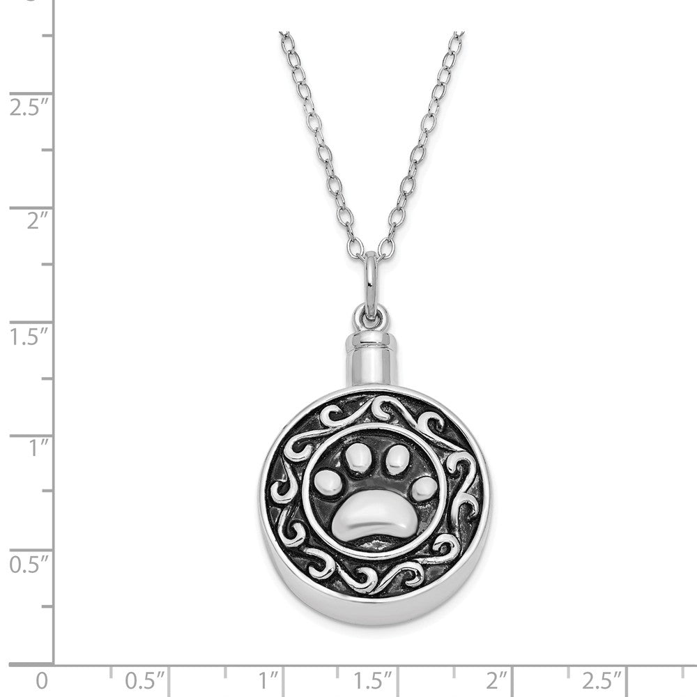 Alternate view of the Rhodium Plated Sterling Silver Paw Print Ash Holder Necklace, 18 Inch by The Black Bow Jewelry Co.