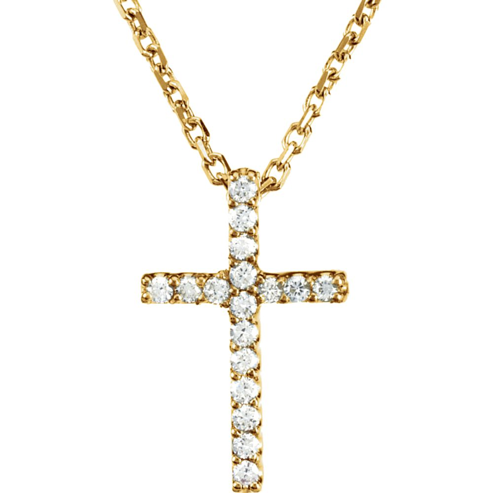 .085 cttw Diamond Cross Necklace in 14k Yellow Gold, Item N9129 by The Black Bow Jewelry Co.
