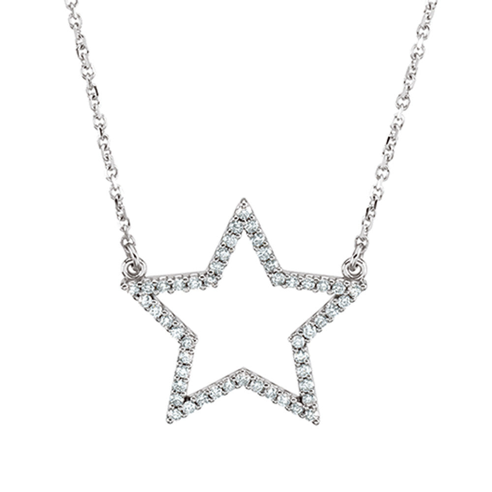 1/4 cttw Diamond Star Necklace in 14k White Gold, Item N9135 by The Black Bow Jewelry Co.